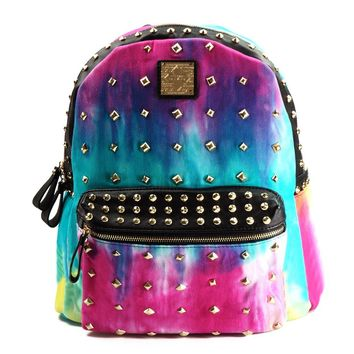 ZLYC Tie Dye Gradient Studded Colorful PU Backpack School Bag