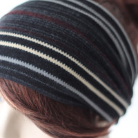 Black Grey Red White Striped Winter Headband, Women's Stretch Head Wrap, Head / Ear Warmer, Hair Accessories