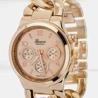 Chunky Rosegold Linked Watch