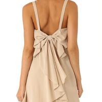 Women's Apricot Strap Bow Ruffle Dress