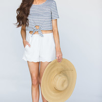 Shay Blue Striped Tie Front Crop Top
