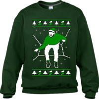 Ugly Xmas Jumper Sweaters Forest Green Hotline Bling Sweater (Green Print)