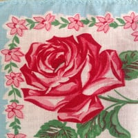 Vintage 1940s Handkerchief Prettiest Painted Roses and Square Print