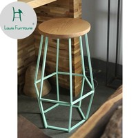 Louis Fashion Bar Chairs American Retro Table Iron Coffee Shop Creative Stool Solid Wood High