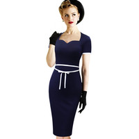 Vfemage Womens Sexy Vintage Retro Rockabilly Bowknot Pinup Wear to Work Business Casual Party Pencil Sheath Bodycon Dress 1988