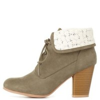 Olive Crochet-Cuffed Lace-Up Booties by Charlotte Russe