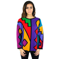 Vintage 80s 90s Abstract Colorful Mod Retro Sweater Jumper Sz M