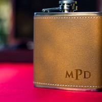 Monogrammed Leather Flask - Perfect Groomsmen Gifts - Engraved 6oz Stainless Steel Flask Wrapped In Leather
