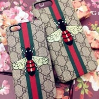 GUCCI Fashion Bee Embroidery iPhone Phone Cover Case For iphone 6 6s 6plus 6s-plus 7 7plus
