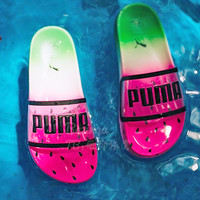 Puma x Sophia Webster Watermelon Slippers Jelly Transparent B-CSXY Green&Pink