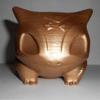 Bulbasaur Planter 3D Printed Pokemon. Fan Art, Large, Painted with gold paint