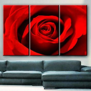"""LARGE 30x60 3 Panels framed 1.5"""" depth Art Canvas Print  Red Rose love Flower Floral Nature Wall home office decor interior"""