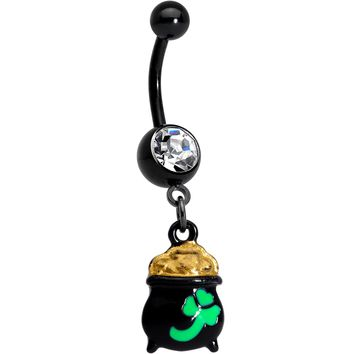 Clear Gem Black Pot of Gold St Patricks Day Dangle Belly Ring