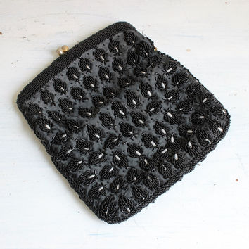 Vintage 1950s Black Beaded Clutch Purse Evening Bag Made In Hong Kong