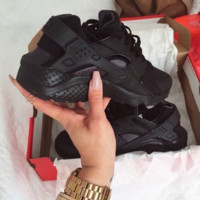 """NIKE""AIR Huarache Running Sport Casual Shoes Sneakers Full Black"
