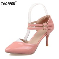 Size 30-48 Ankle Straps High Heels Sandals Summer Shoes Sexy Ladies Pointed Toe Patent Leather Party Wedding Shoes PA00601