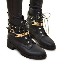 Black Studded Combat Boots With Lace-Up Design