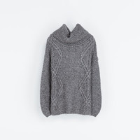 SQUARE CUT CABLE KNIT SWEATER - Knitwear - Woman   ZARA United States