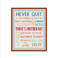 Inspirational cross stitch pattern, Motivational cross stitch, Positive cross stitch, Never quit, You can do it, Today is a good day, PDF
