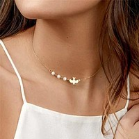Fashion Casual Faux Pearl & Bird Detail Chain Necklace