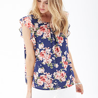 FOREVER 21 Ruffled Floral Chiffon Blouse Navy/Coral