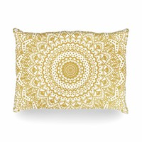 "Nika Martinez ""Gold Mandala"" Gold White Illustration Oblong Pillow"
