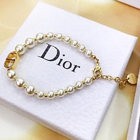 DIOR Stylish Women CD Letter Pearl Bracelet Hand Catenary Jewelry Accessories