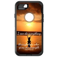 DistinctInk™ OtterBox Defender Series Case for Apple iPhone / Samsung Galaxy / Google Pixel - Philippians 4:13 - I can do everything through Him who gives me strength