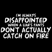 I'M ALWAYS DISAPPOINTED WHEN A LIAR'S PANTS DON'T ACTUALLY CATCH ON FIRE