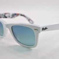 Ray Ban RB2140 Wayfarer Sunglasses-1116/3Q White And Text (Azure Lens)-50mm
