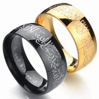 2018 New Muslim Allah Stainless Steel Ring For Women Men Islam Arabic God Messager Black Gold Color Band Quran Middle Eastern