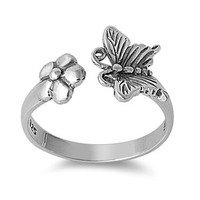 Butterfly & Flower Ring Sterling Silver 925