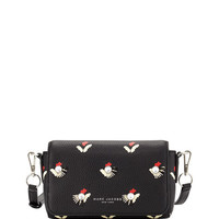 Embellished Tulip-Print Crossbody Bag, Black/Multi