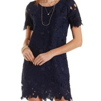 Short Sleeve Lace Shift Dress by Charlotte Russe