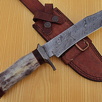 REG K-895  Handmade Damascus Steel 12.00 Inches  Bowie  Knife - Stained Bone Handle