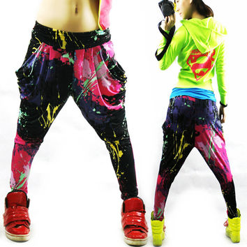 New Fashion Brand Jazz harem women hip hop pants dance doodle spring and summer loose neon patchwork candy colors sweatpants