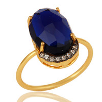 14K Gold Plated Sterling Silver Blue Corundum Prong Set Stacking Ring With CZ