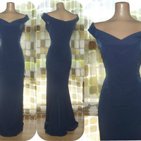 Vintage 90s Navy Blue Sexy Mermaid Hourglass Dress Formal Gown Sz 11/12 M/L Bridesmaid Cocktail Prom