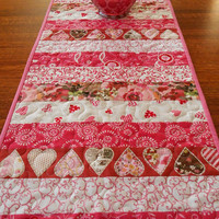 Valentine's Day Table Runner, Pink and Red, Hearts and Flowers, Quilted Valentine Table Runner, Moda Prints