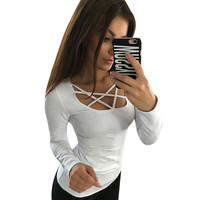 Spring Autumn Women T shirt Long Sleeve Hollow Out Spaghetti Strap Slim Fit Solid Crop Top Tee Shirt Femme Blusas Tunic LJ4515U