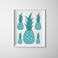 Pineapple print, teal pineapples, quirky kitchen art, teal and white art print, cool kitchen ideas, wall art for the home or office.