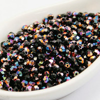 3mm faceted beads. Black Czech fire polished. 70pc Opaque. Vitex