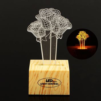 6W 3D Rose Induction Control Plug In Yellow LED Night Light Desk Table Lamp for Home