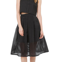 Black Mesh Dress with A-Line Pleated Skirt