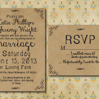 Hand Drawn Style Printable Wedding Invitation with RSVP card