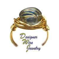 DWJ0561 Blue & Gold Swirl Czech Art Glass Gold Wire Wrapped Ring All Sizes