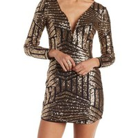 Black Combo Plunging Sequined Bodycon Dress by Charlotte Russe