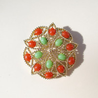 Vintage Sarah Coventry Gold Brooch With Green and Orange Cabochons
