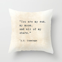 EE Cummings, Sun Moon Stars Quote, Love Throw Pillow by ShadeTree Photography