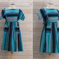 Vintage 1960s Striped Dress / Turquoise & Black Button Sleeve Dress / Cute Girly Spring Medium M Dress